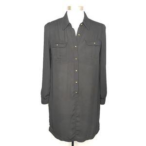 Forever 21 Black Tunic Dress Shirt Top A080210